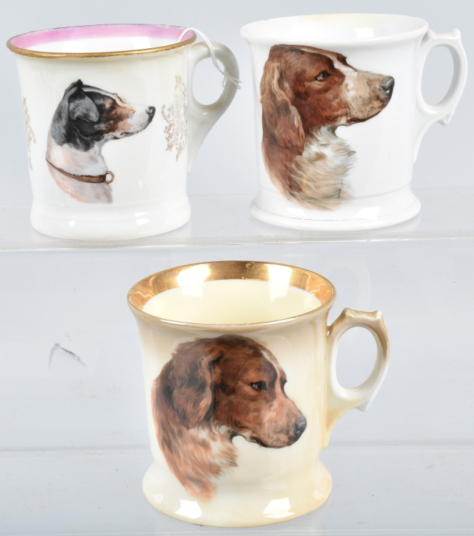 3- ANTIQUE HAND PAINTED SHAVING MUGS w/ DOGS