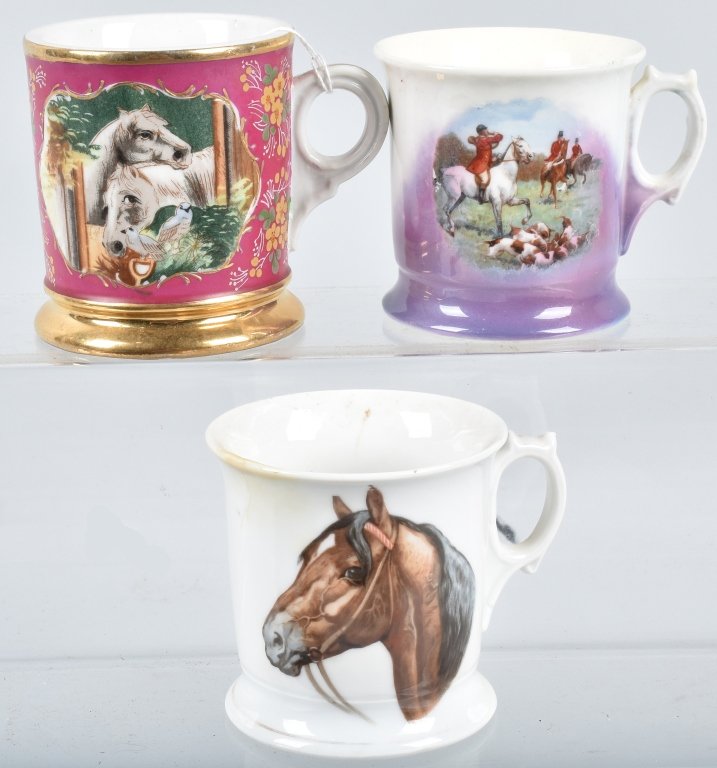 3- ANTIQUE HAND PAINTED SHAVING MUGS w/ HORSES