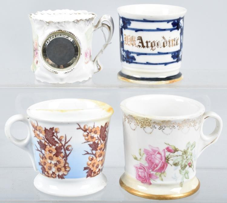 4- ANTIQUE HAND PAINTED SHAVING MUGS w/ FLOWERS