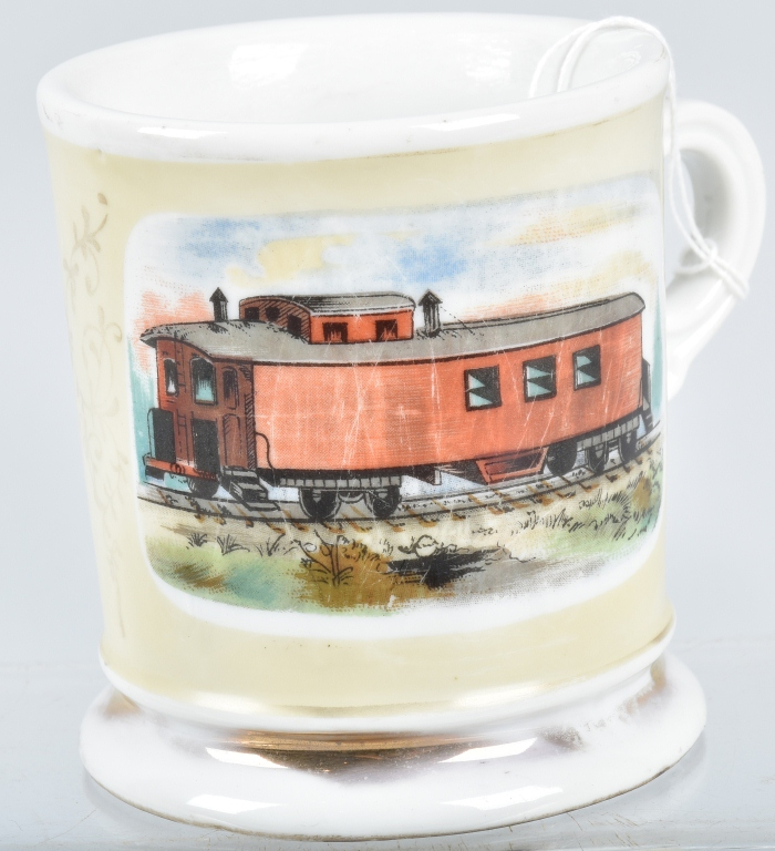ANTIQUE OCCUPATIONAL SHAVING MUG w/ CABOOSE