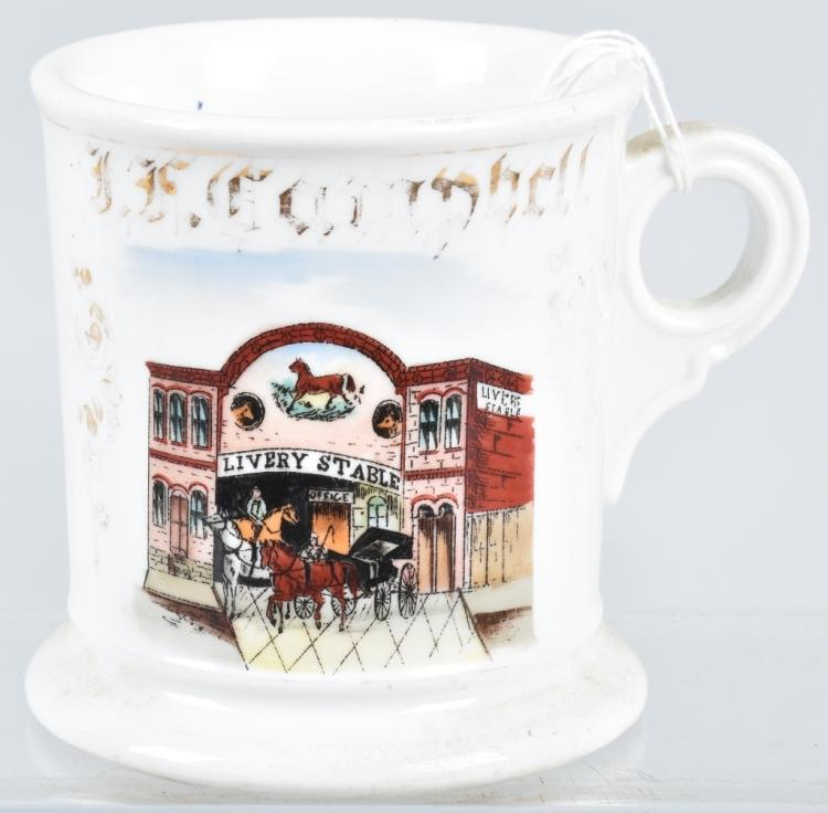 ANTIQUE OCCUPATIONAL SHAVING MUG LIVERY STABLE