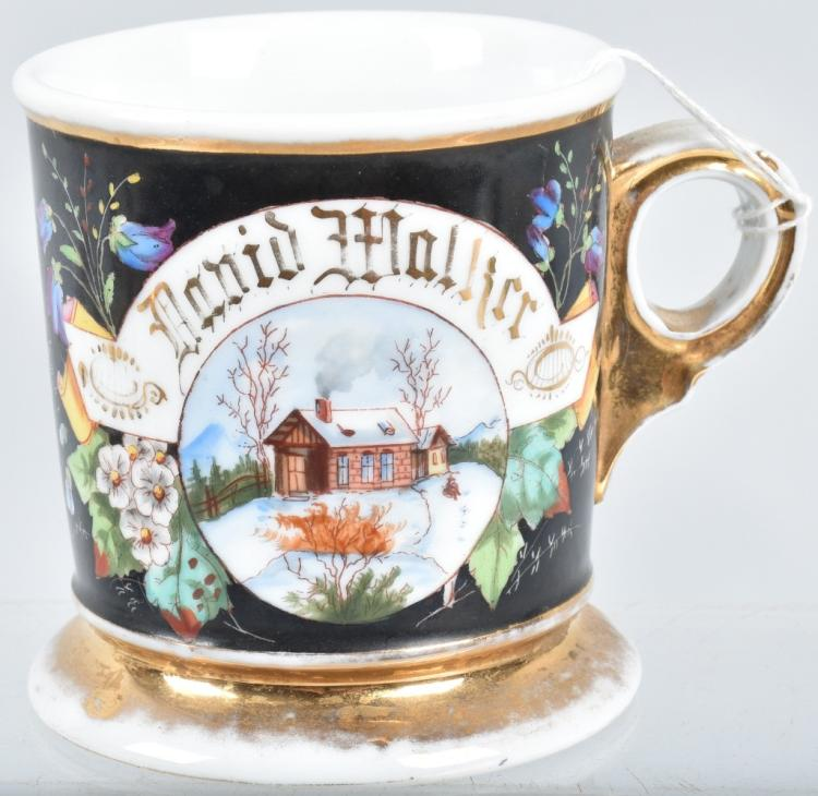 ANTIQUE SHAVING MUG w/ WINTER CABIN