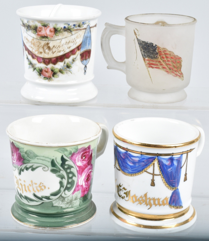 4- ANTIQUE SHAVING MUGS