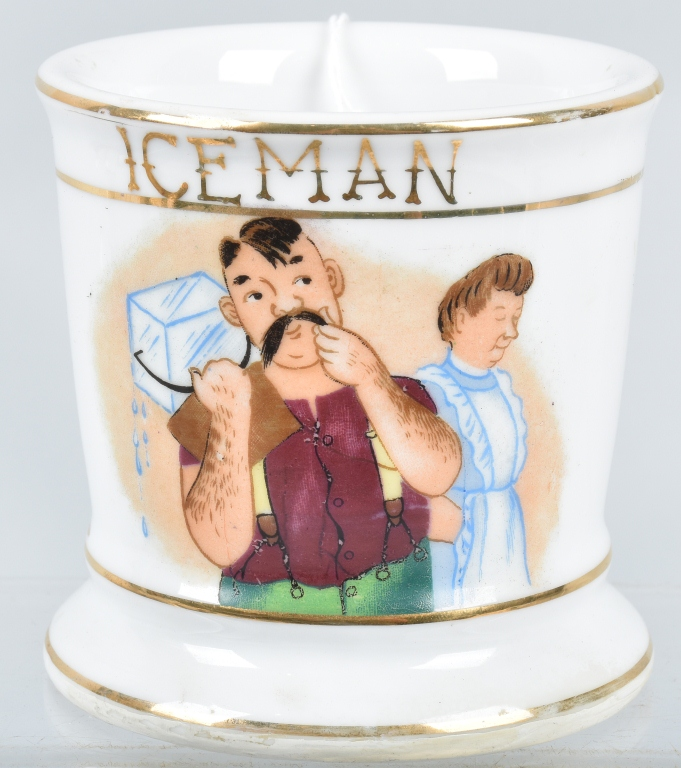 ANTIQUE OCCUPATIONAL SHAVING MUG ICEMAN