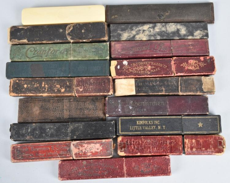 17- ANTIQUE STRAIGHT RAZOER BOXES