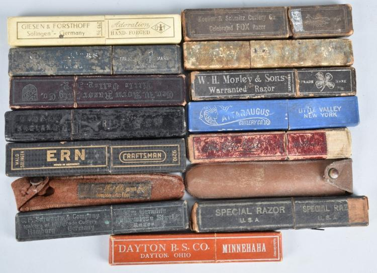 15- ANTIQUE STRAIGHT RAZOER BOXES