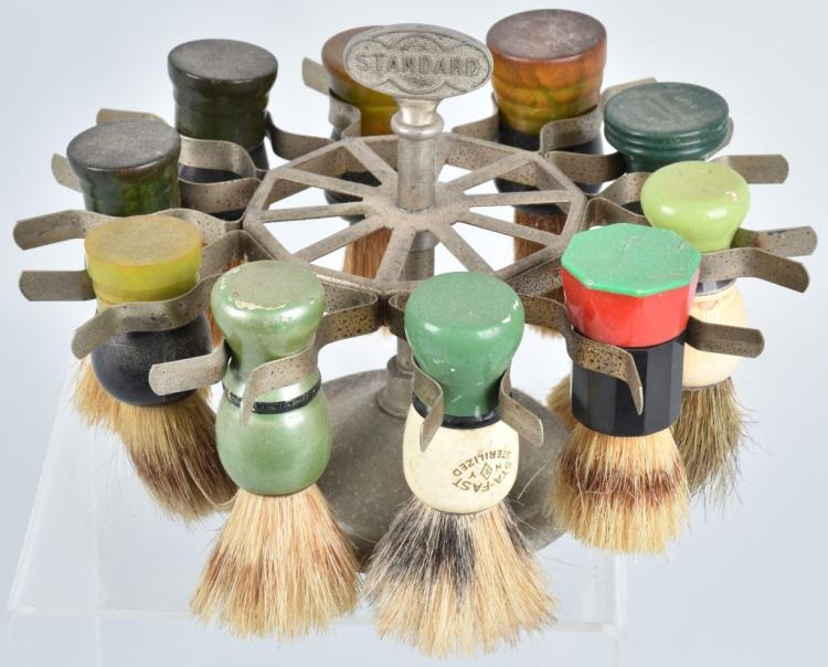 STANDARD BARBER SHAVING BRUSH HOLDER w/ BRUSHES