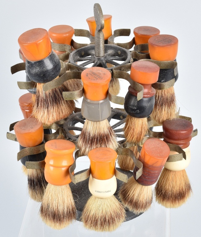 BARBER SHAVING BRUSH HOLDER w/ BRUSHES