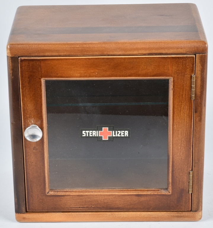 ANTIQUE WOODEN STERILIZER CABINET