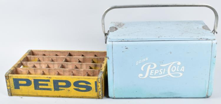 PEPSI COLA METAL COOLER, AND BOTTLE CASE, VINTAGE