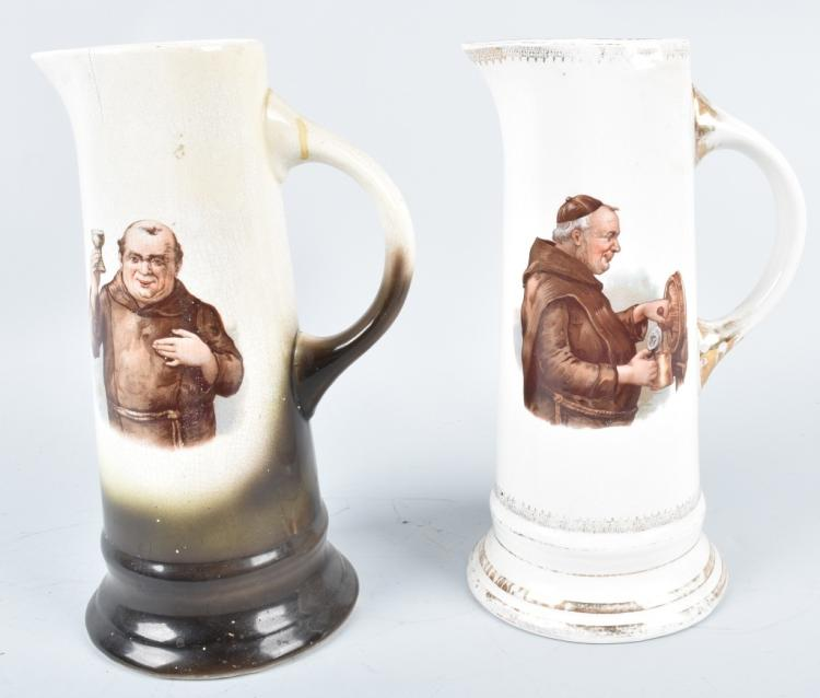 2-LARGE MONK STEINS, VINTAGE