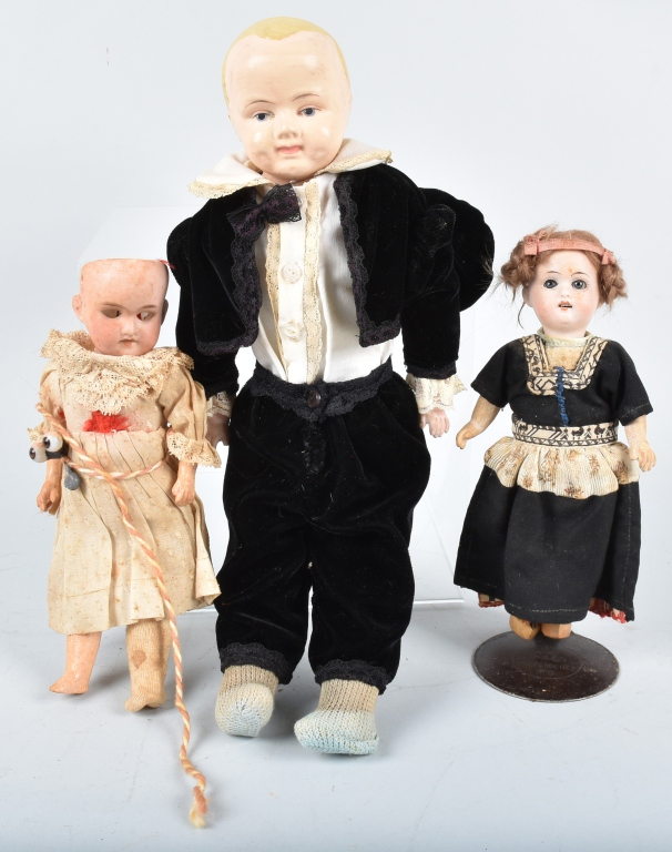 3-BISQUE DOLLS, VINTAGE