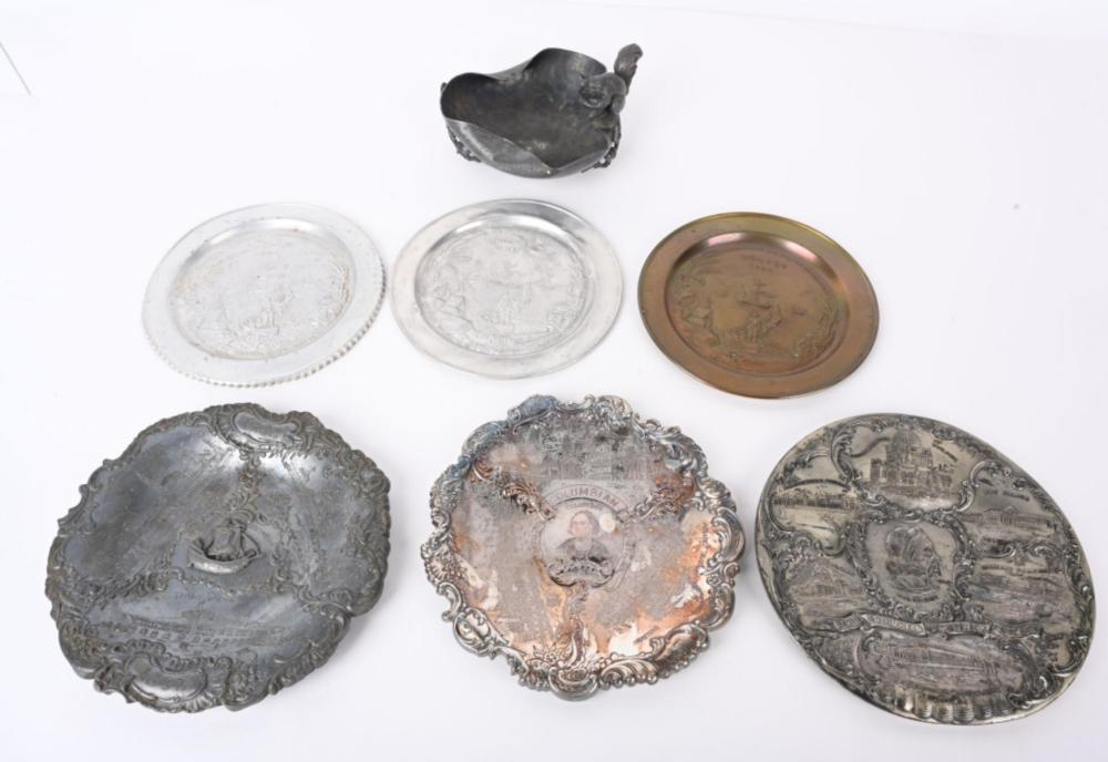 7 WORLD'S COLUMBIAN EXPOSITION METAL DISHES