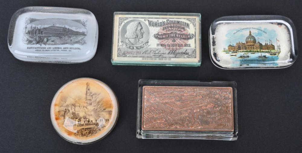 5 COLUMBIAN EXPOSITION GLASS PAPERWEIGHTS