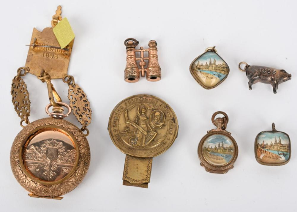 7 COLUMBIAN EXPOSITION PATRIOTIC WATCH PIN & FOBS