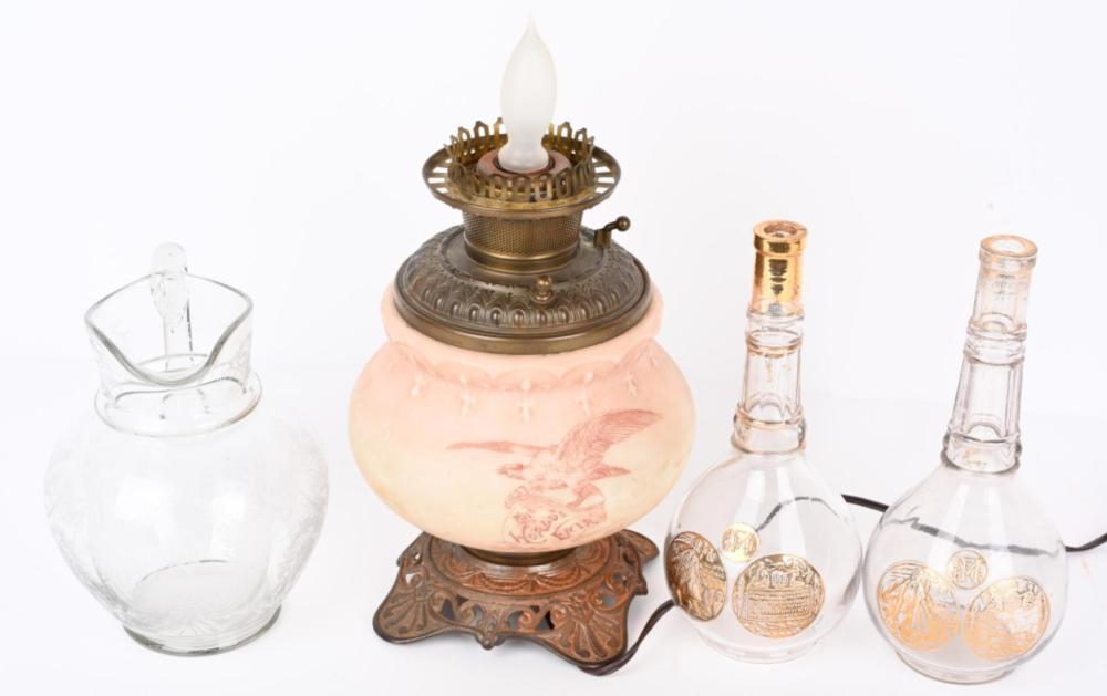COLUMBIAN EXPOSITION WATER PITCHER, LAMP & BOTTLES