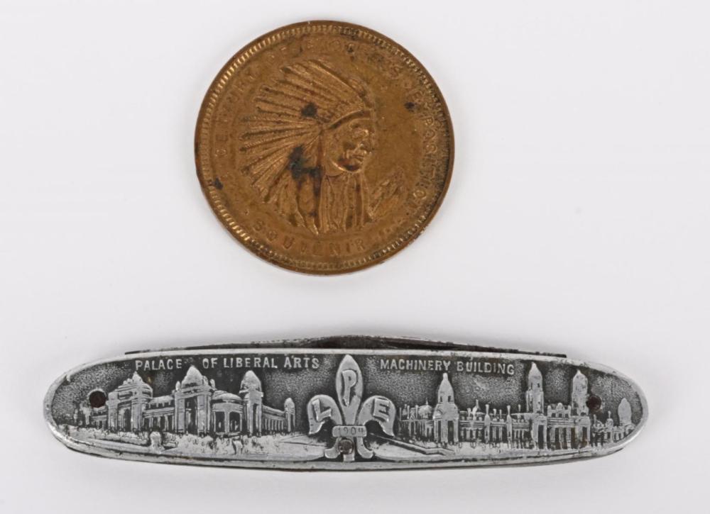 ST LOUIS WORLDS FAIR POCKET KNIFE & 1933 TOKEN