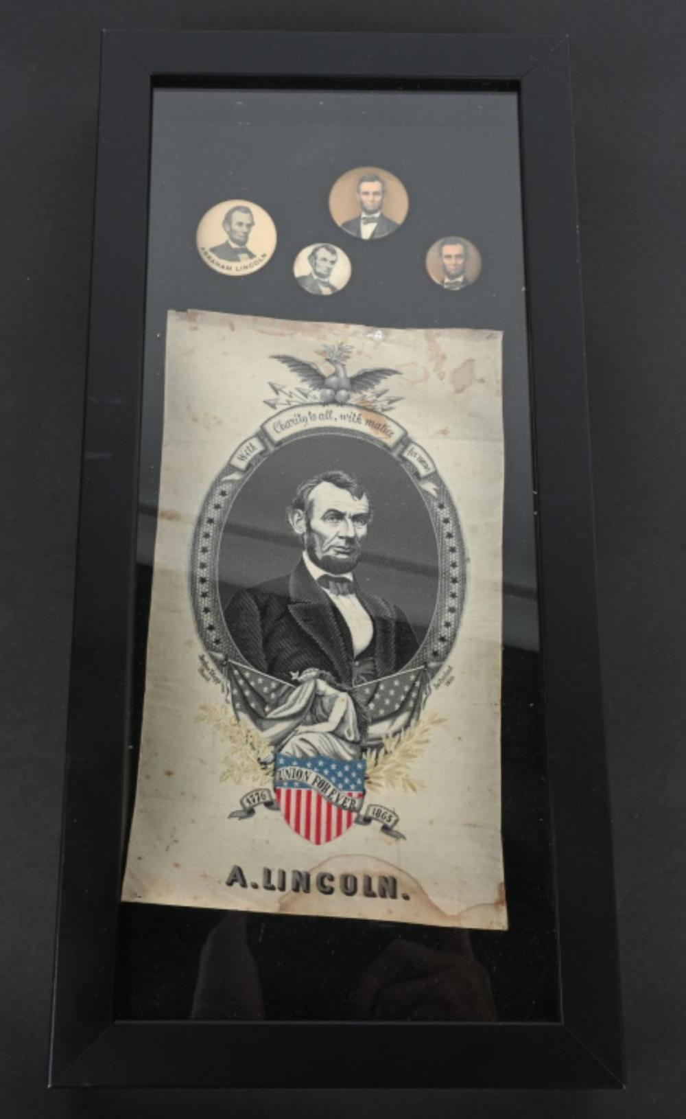 ABRAHAM LINCOLN RIBBON & PIN BACK BUTTONS