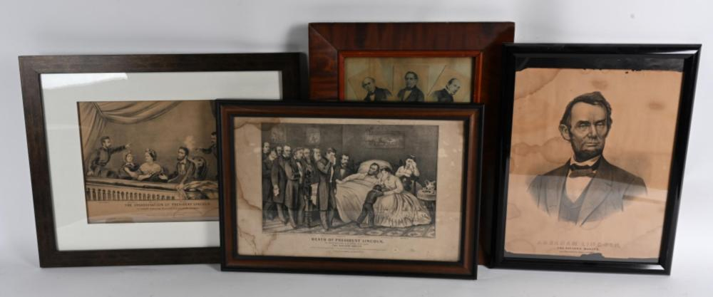 4- ABRAHAM LINCOLN PRINTS, CURRIER & IVES