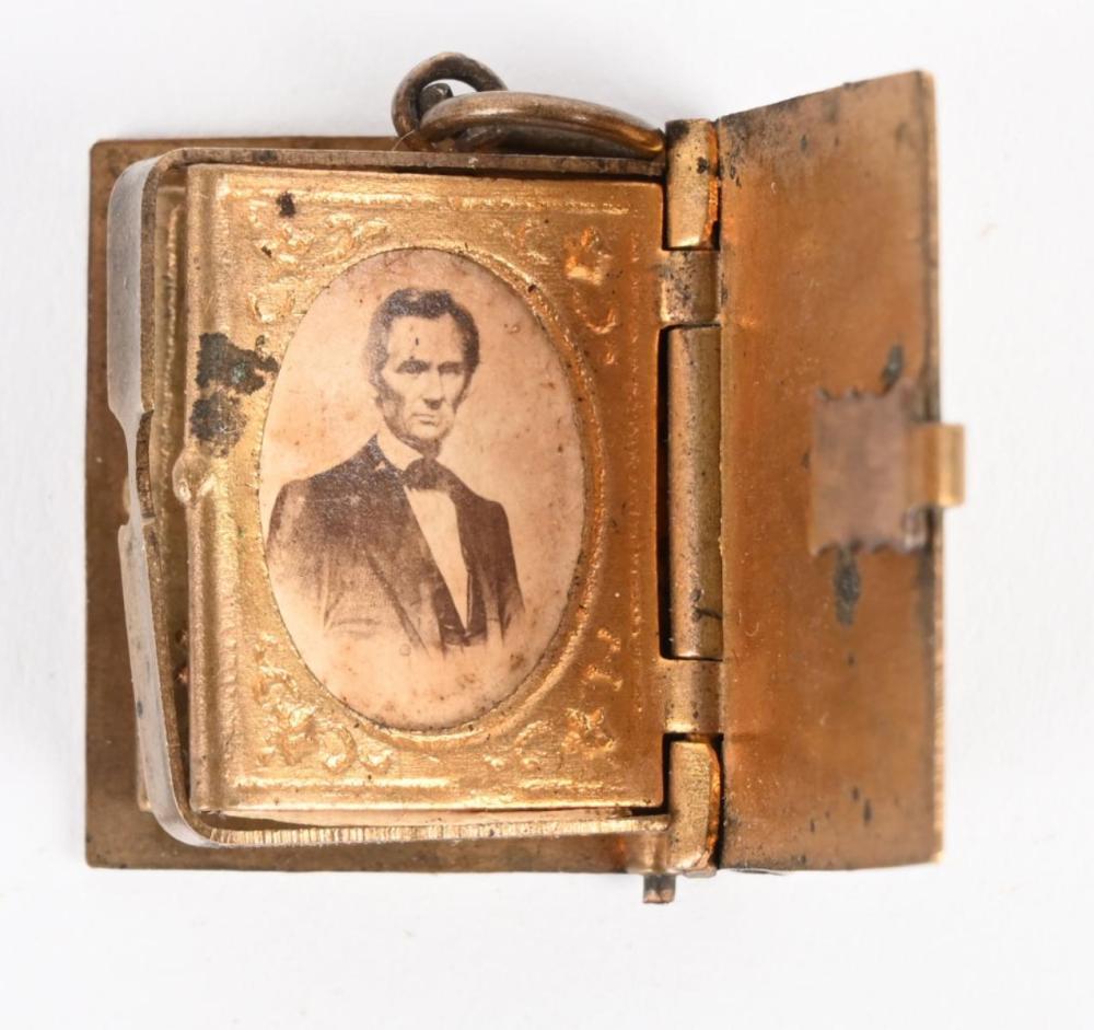 MINIATURE BRASS BOOK ABRAHAM LINCOLN LOCKET