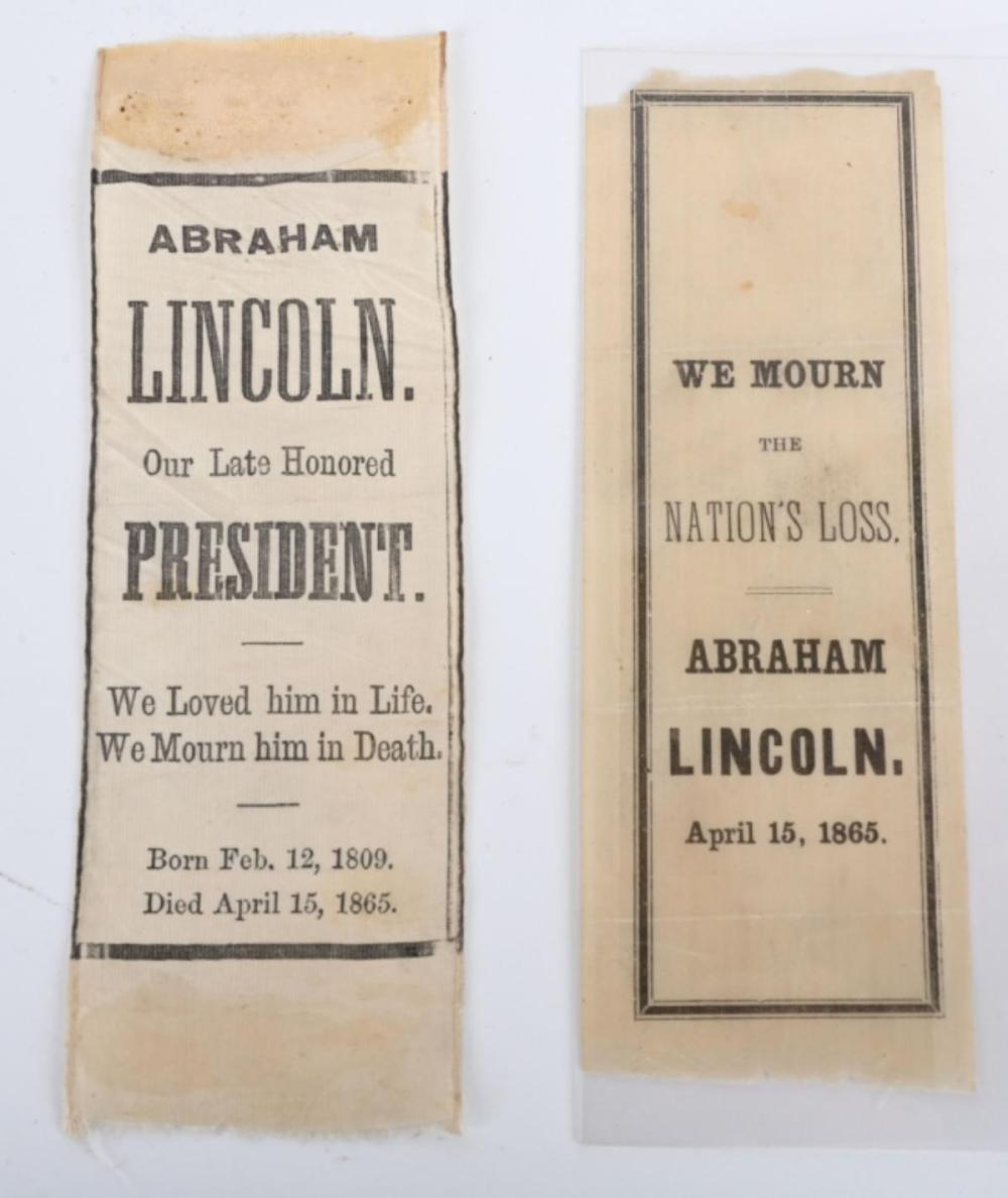 4- ABRAHAM LINCOLN MOURNING RIBBONS