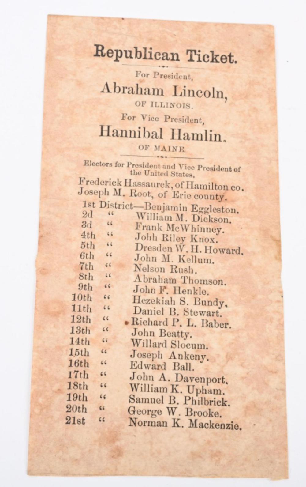 1860 ELECTION REPUBLICAN TICKET, LINCOLN - HAMLIN