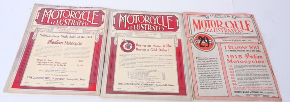 LOT (3) MOTORCYCLE ILLUS. 1913-1914