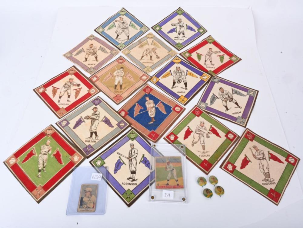 PRE WAR CARD, FELT & PIN LOT- W. JOHNSON