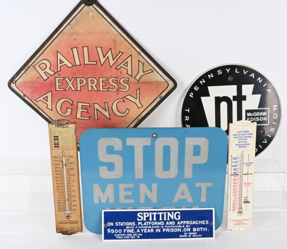 LOT OF SIGNS & THERMOMETERS