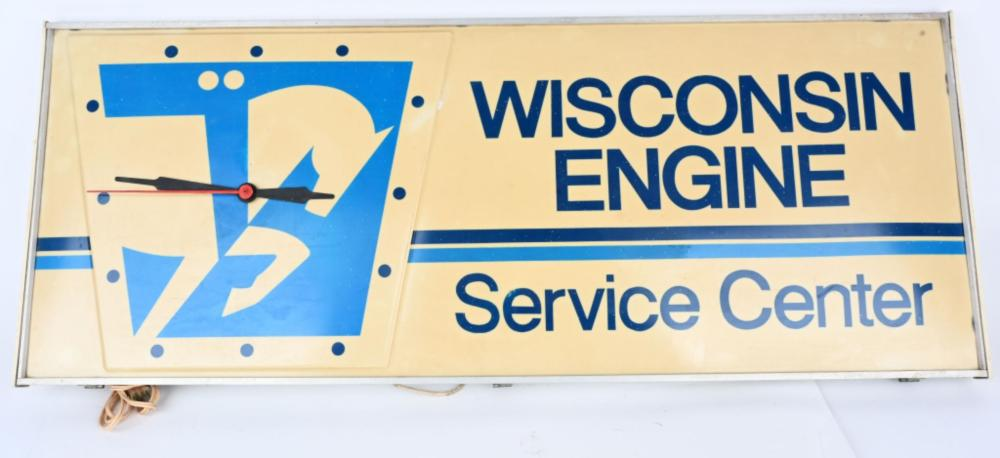 Wisconsing Engines Service Center Lighted Clock