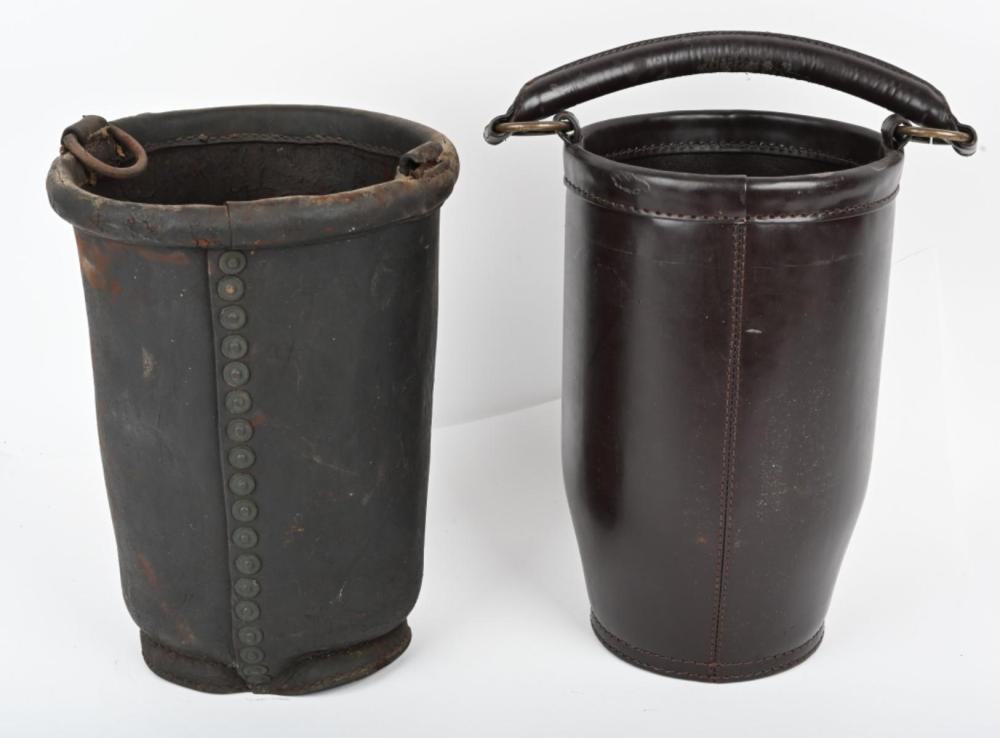 2- LEATHER FIRE BUCKETS, ONE ORIGINAL
