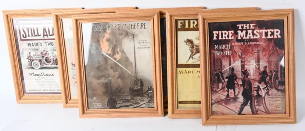 6- FRAMED FIRE THEMED SHEET MUSIC
