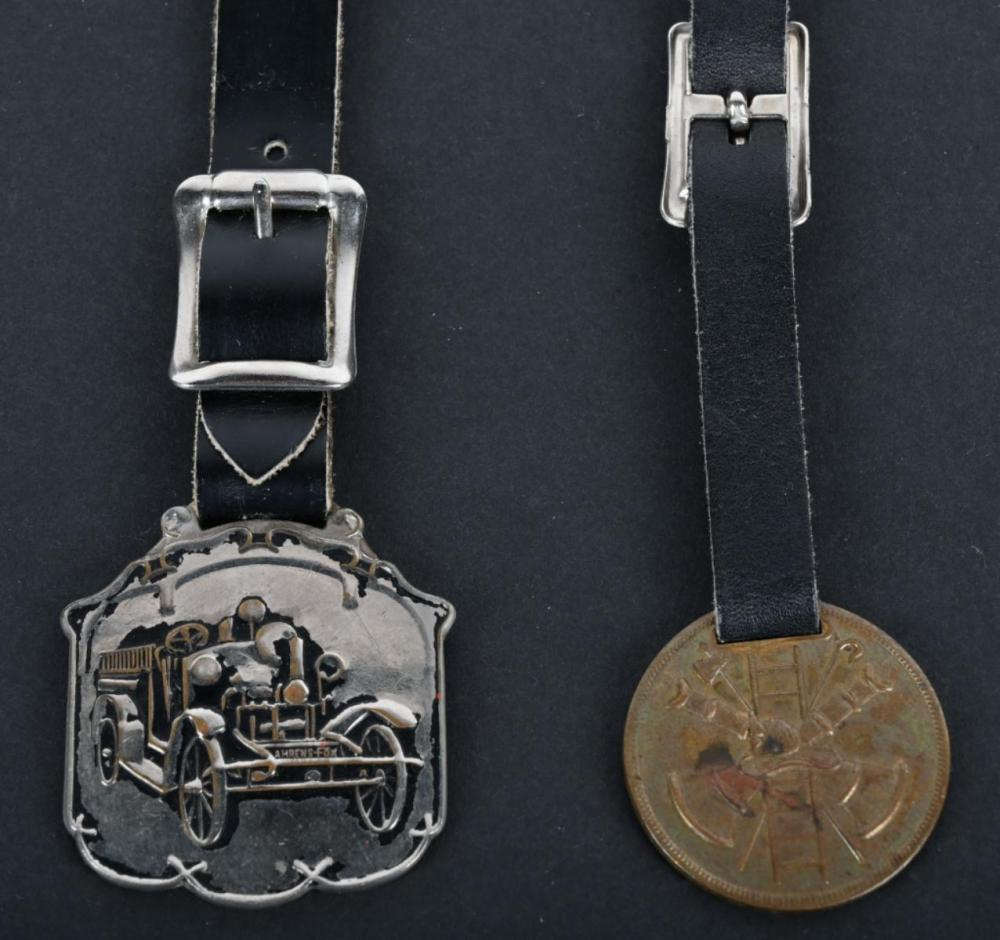 2-FIRE RELATED WATCH FOBS, AHRENS FOX & BOYER