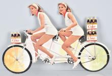 COCA COLA DIECUT ADVERTISING, TWINS ON BICYCLE