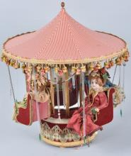 FRENCH CLOCK WORK MUSIC BOX DOLL CAROUSEL