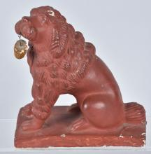 19th CENTURY RED CHALKWARE FETCHING DOG