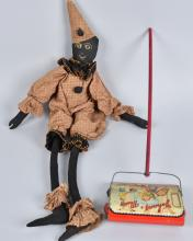 EARLY BLACK FOLK ART CLOWN DOLL and TOY SWEEPER