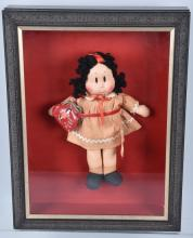 1950's LITTLE LULU CLOTH DOLL and PURSE, in CASE