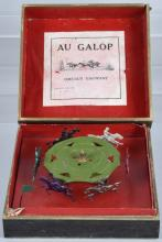 EARLY FRENCH AU GALOP HORSE RACE GAME, BOXED