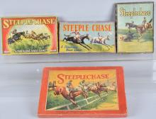 4-VINTAGE ENGLISH STEEPLE CHASE GAMES, BOXED
