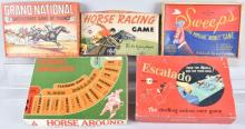 5-VINTAGE HORSE RACE GAMES, BOXED