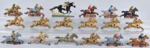 18-CAST IRON HORSE RACE GAME HORSES & JOCKEYS