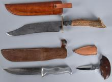 3- FIXED BLADE KNIVES with SHEATHS