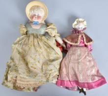 2-PARIAN BISQUE DOLLS with MOLDED BONNETS