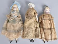 3-PARIAN BISQUE DOLLS with MOLDED BONNETS