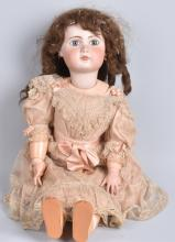 LARGE BISQUE DOLL with PIERCED EARS