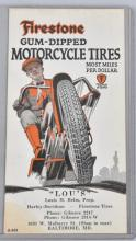 1920s FIRESTONE MOTORCYCLE TIRES TRADE CARD