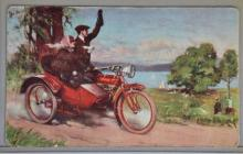 EARLY INDIAN MOTORCYCLE COLOR POSTCARD