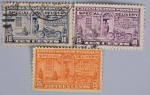 3- 1920s US SPECIAL DELIVERY MOTORCYCLE STAMPS