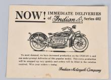 1929 INDIAN 4 SERIES 402 MOTORCYCLE TRADE CARD
